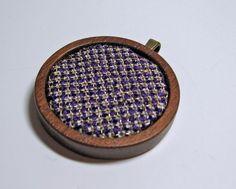 Hand Embroidered Silk and Goldwork Pendant  by LarkspurStitchery, $29.95