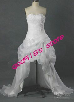 Wholesale Organza Strapless Short Front Long Back wedding dress White for Bride Stylish Wedding Dress, Free shipping, $145.6-162.4/Piece | DHgate
