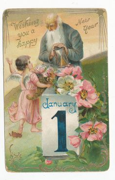 B2778 1910 Tucks Postcard New Years Greeting Old Father Time w Angel | eBay