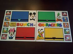 "Disney Mickey Mouse & Friends 2 Page 12""x12"" Scrapbook Layout w/ die-cuts Titled ""What a Bunch of Characters"""