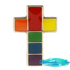 Rainbow Cross Lapel Pin