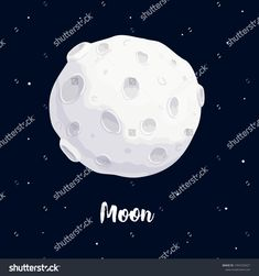 moon vector illustration of full moon cartoon in the dark blue background