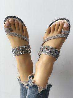 Shop Shiny Sequins Embellished Toe Post Sandals right now, get great deals at joyshoetique Sparkly Sandals, Cute Sandals, Cute Shoes, Me Too Shoes, Shoes Sandals, Flat Sandals, Flats, Indian Shoes, Beautiful Sandals