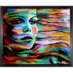 Sheltered by the wind is a colorful expressionist painting of a woman's face by Helena Wierzbicki. Enjoy its beauty and color reproduced as a fine canvas print. Influenced by the Expressionist Movemen