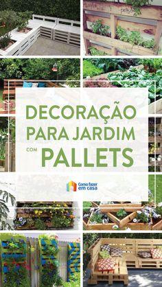 Decoração para o jardim com pallets | Como fazer em casa Outdoor Structures, Wooden Pallet Projects, Woodworking Projects, Walled Garden, Home Decor Ideas, Diy Home, Casual Decor, Ladies Fashion, Blinds