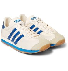 Adidas Originals - Country OG Suede and Leather-Trimmed Canvas Sneakers Hero Academia Characters, Boku No Hero Academia, Adidas Country, Blue Beetle, Aizawa Shouta, Mens Designer Shoes, Retro Aesthetic, Canvas Sneakers, Adidas Originals