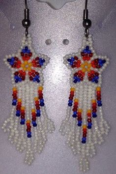 Native American Lakota Sioux Hand Crafted Earrings With Glass Seed Beads