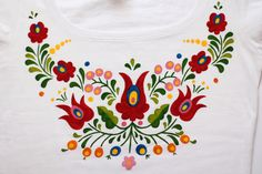 HAND PAINTED hungarian folk art T-shirt with by LiliFolkShop