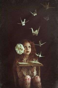 Origami animals fly in this fine art photo Fantasy Photography, Surrealism Photography, Conceptual Photography, Creative Photography, Children Photography, Fine Art Photography, Portrait Photography, Whimsical Photography, Portrait Art
