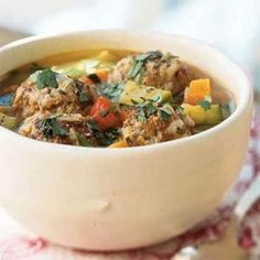Turkey Albondigas Soup - this sounds good minus the cabbage...