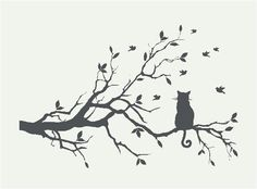 Kat op tak Muurstickers en Sjablonen