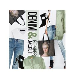 """""""Distressed Denim & Bomber Jacket"""" by magdafunk ❤ liked on Polyvore featuring Emanuel Ungaro, BLANKNYC, Marc by Marc Jacobs, Yves Saint Laurent, MM6 Maison Margiela, Aquazzura, ankleboots, distresseddenim and bomberjackets"""