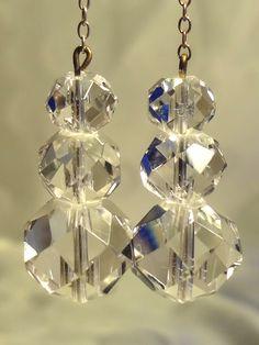 Vintage Sterling Silver Rock Crystal Chandelier Earrings 1940's.