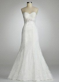 Sparkle and shine on your special day in this stunning all over lace gown!  Ultra-feminine sweetheart bodice features elegant all over lace detail.  Beaded empire waist adds drama and creates a flattering silhouette.  Fit and flare skirt adds dimension and finishes off the look.  Fully lined. Back zip. Imported polyester. Dry clean.