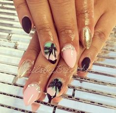 Pink palm tree metallic gold nails