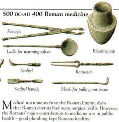 Tools of Ancient Roman medicine - Medical instruments from the Roman Empire show…                                                                                                                                                                                 More