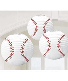 These are cute for a baseball party, but I am gonna use them for my child's bedroom. Hanging from the ceiling above there bed. Bar mitzvah, birthday party, baby shower with baseball theme Softball Party, Baseball Birthday Party, Boy Birthday, Birthday Ideas, Sports Party, Birthday Stuff, Baseball Wedding Cakes, Baseball Party Supplies, Tennis Party