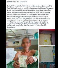 HKL hidang roti berkulat kepada pesakit? Ini pendedahan sebenar   PALSU :  Tular di media sosial dakwaan bahawa Hospital Kuala Lumpur (HKL) saji roti yang sudah berkulat kepada pesakit.  HKL hidang roti berkulat  Sumber gambar : Facebook  SEBENARNYA :  Hospital Kuala Lumpur menafikan bahawa hospital berkenaan mensajikan roti yang sudah berkulat kepada pesakit.  Sebaik menerima aduan pihak hospital dengan segera membuat pemeriksaan dan mendapatibahawa dakwaan tersebut adalah tidak berasas…