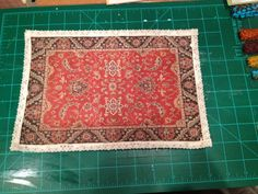 Tutorial for how to make no-sew miniature dollhouse rug by printing on computer fabric paper