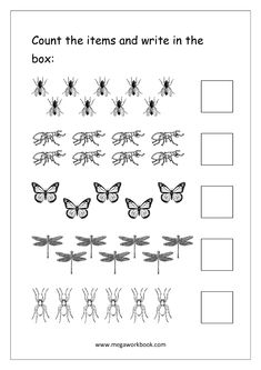 Free Printable Number Counting Worksheets - Count and Match - Count and Write - Count And Color The Objects - Math Worksheets For Preschool and Kindergarten - MegaWorkbook Free Printable Numbers, Free Printable Math Worksheets, Number Worksheets, Writing Worksheets, Worksheets For Kids, Counting Worksheet, Matching Worksheets, Animal Worksheets, Alphabet Worksheets
