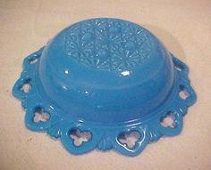 Blue Slag? Milk Glass Bowl Pierced Rim Daisy Button Bottom