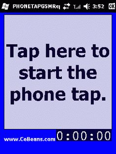 PHONETAPGSMReplayerSave©  This program is a phone tap recorder that allows you to replay the recording and export the GSM encoded wav file. Simply tap the 'Record' button when in a phone conversation to record it and again to stop the recorder. When you tap on the button the program will 'replay' the phone conversation. Select 'Save As' on the toolbar to save the audio file onto your storage card.   http://www.cebeans.com/phonetapgsmreplayersavep.htm
