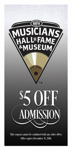 $5 Off Admission to the Musicians Hall of Fame and Museum. Click the image for the coupon.   #Nashville #MusicCity