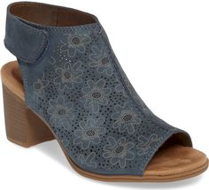 Rockport Cobb Hill Hattie Perforated Slingback Sandal in Blue. Pebbly perforations surround printed flowers on a bootie-inspired nubuck sandal with a generously cushioned footbed and a stacked demi-block heel.. #shoes#fashion#style#stylish#trendy