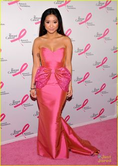 : Photo Brenda Song shows off her rose tattoo as she arrives at The Breast Cancer Research Foundation's 'Hot Pink Party' held at The Waldorf=Astoria on Monday night (April… Mermaid Gown, Mermaid Prom Dresses, Beautiful Evening Gowns, Girl Celebrities, Celebs, Brenda Song, Pink Parties, Everything Pink, Beautiful Asian Women