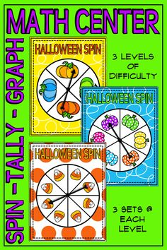 Halloween Spin – Tally – Graph Math Center gives your students the opportunity to collect data, record it in several ways, and analyze it. Easily differentiated with 3 levels of difficulty. Level 1 provides 4 icons with which to collect data. Level 2 has 6 icons and level 3 has 8. The data analysis sheets also deliver differences in complexity.  K-2  #mathcenter #graphingactivity #kindergartenmath
