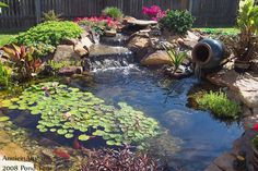 It's not difficult to create a waterfall pond feature rather than the conventional pond. With this small waterfall pond landscaping ideas you will inspired to make your own small waterfall on your home backyard. Garden Waterfall, Small Waterfall, Waterfall Design, Backyard Water Feature, Ponds Backyard, Garden Ponds, Backyard Waterfalls, Backyard Ideas, Pond Landscaping