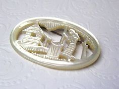 Brooch Mother of Pearl Folk Art Carved Scene Vintage 1920s jewelry