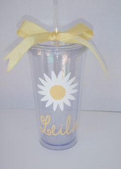 Personalized Daisy Tumbler by GameDayGirlsandGifts on Etsy, $17.00