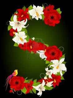 S letter with flowers and bird