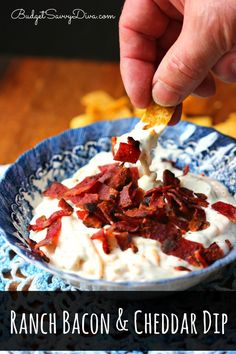 BEST DIP Ever!!! This dip is simple and EVERYONE will love it ! Ranch Bacon and Cheddar Dip Recipe #dip #recipe #bacon #ranch #budgetsavvydiva via budgetsavvydiva.com