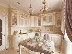 """Photo of the kitchen interior from the project """"Design of a one-room apartment 48 sq. in classic style, LCD """"Pearl frigate"""" """"--Photo Luxury Kitchen Design, Kitchen Room Design, Kitchen Interior, Kitchen Dinning Room, Kitchen Decor, Interior Exterior, Home Interior Design, Tiny Apartment Living, Dining Area Design"""