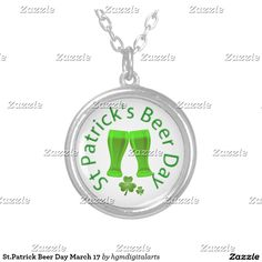 St.Patrick Beer Day March 17 Silver Plated Necklace