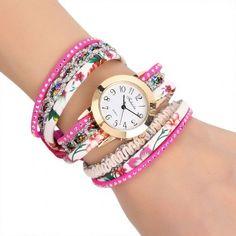 Women's Multi-Strap Bracelet Watch Round Dial Quartz Wrap Wristwatch