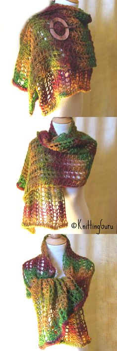 Hand knitted Autumn in Vermont scarf / shawl.