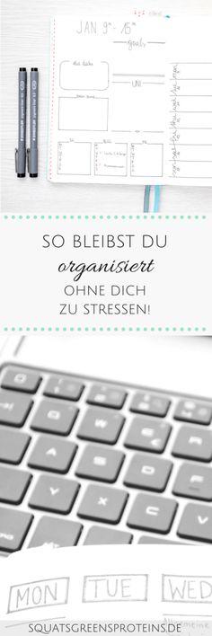 Organisiert sein ohne Stress - so schaffst du es! Essayist, Stress Management, Motivation, Computer Keyboard, Content Marketing, Online Business, Squats, Bullet Journal, Lifestyle Changes