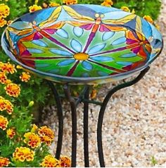 Stained Glass Bird Bath-Dragonfly