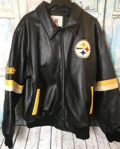 a3b13c503 Vintage Pittsburgh Steelers NFL Faux Leather Mens XL Jacket Football  NFL   PittsburghSteelers  men