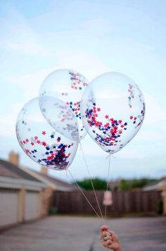 Your party is sure to sparkle with these confetti balloons.