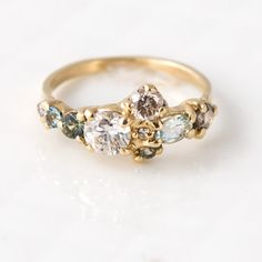 Sea Glass Cluster Ring in 14K Yellow Gold with Mossy Sapphires, Pale Blue Aquamarine, and Champagne Diamonds | Stone Cluster Engagement Ring