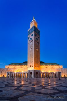 The Hassan II Mosque in Casablanca Morocco - the largest in the country and the seventh largest in the world.