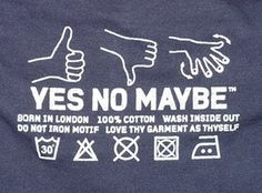 YES NO MAYBE woven label