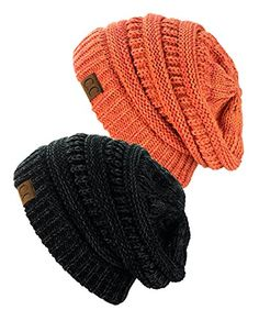 5b1a43bec0d Exclusive Unisex Two Tone Warm Cable Knit Thick Slouch Beanie Cap