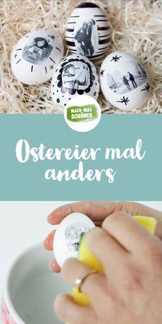Ostereier gestalten mal anders - entdecke Eier zu Ostern ganz neu mit Deinen eigenen Bildern. Dazu brauchst Du nur Deine ausgedruckten Lieblingsbilder, weiße Eier, Kleber und ein bisschen Zeit. Jetzt wunderschöne Osterdeko selbst gestalten und verzieren. Jetzt neue Ostereier Techniken mit Fotoeiern entdecken.  #ostern #ostereier #fotoeier #diy #eier #osterbasteln
