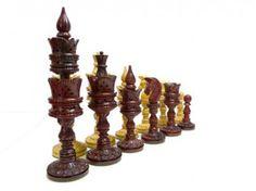 Pièces de Jeu D'échecs Lotus Sculpté Plombées Feutrées chez Baron des échecs