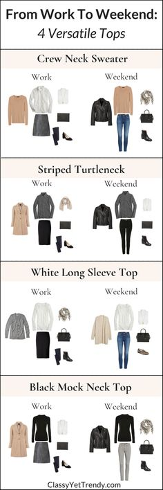 From Work To Weekend - 4 Versatile Tops - In this post, I'm sharing 4 versatile tops that will go from work to the weekend. All the outfit ideas shown are in the eBook, The French Minimalist Capsule Wardrobe: Winter 2018 Collection. Dressy and casual outfits!